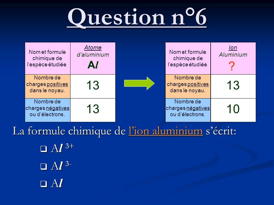 Question n°6 Nom et formule chimique de l'espèce étudiée. Nombre de charges positives dans le noyau.