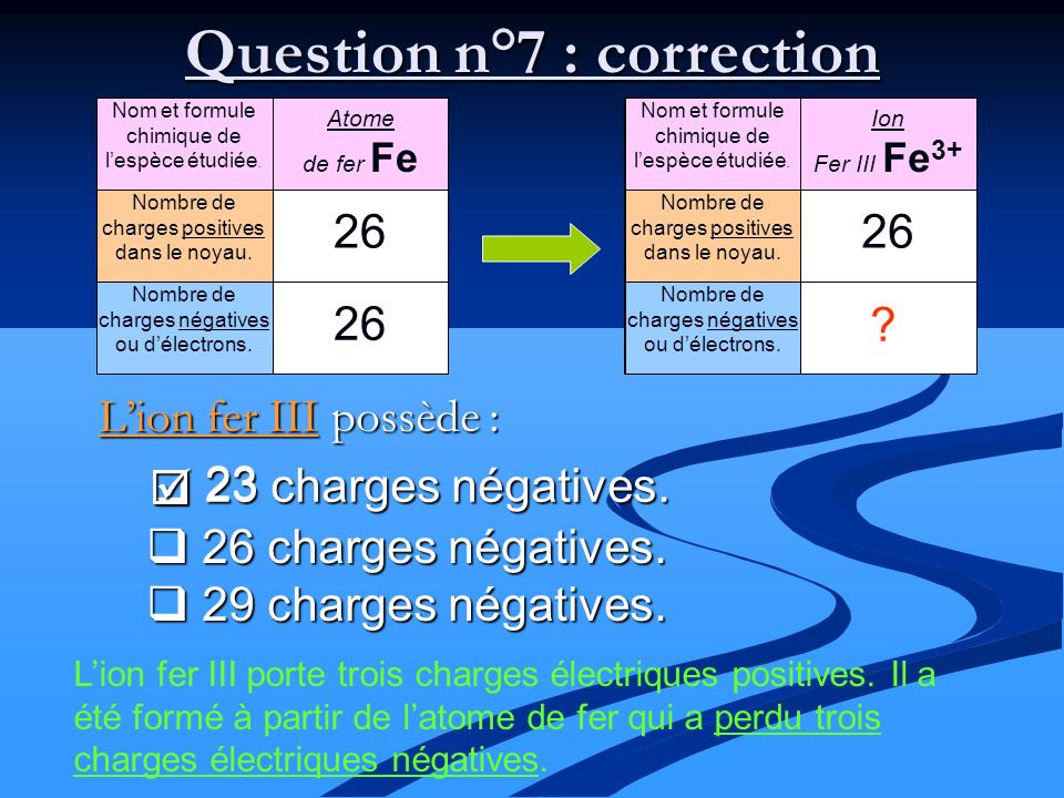 Question n°7 : correction