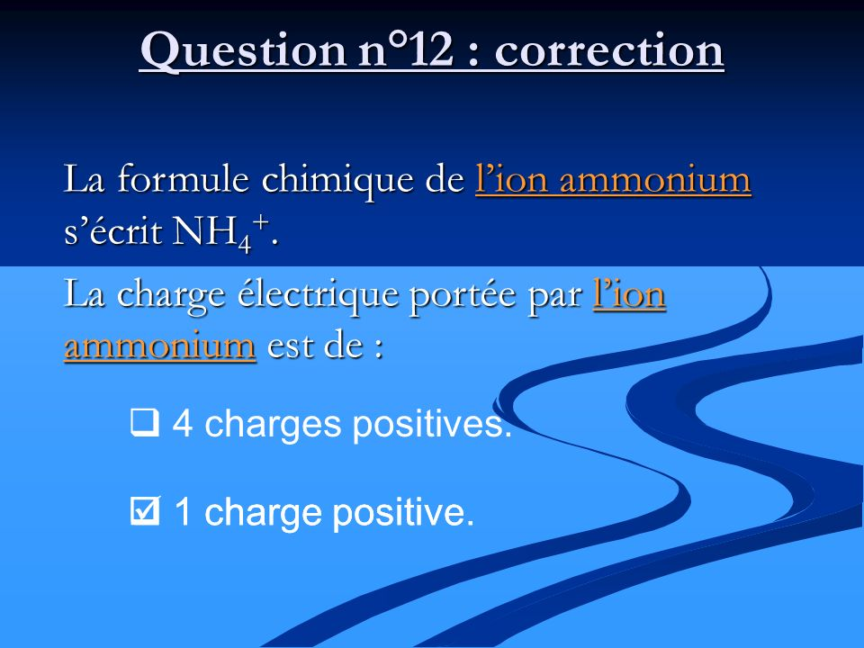 Question n°12 : correction