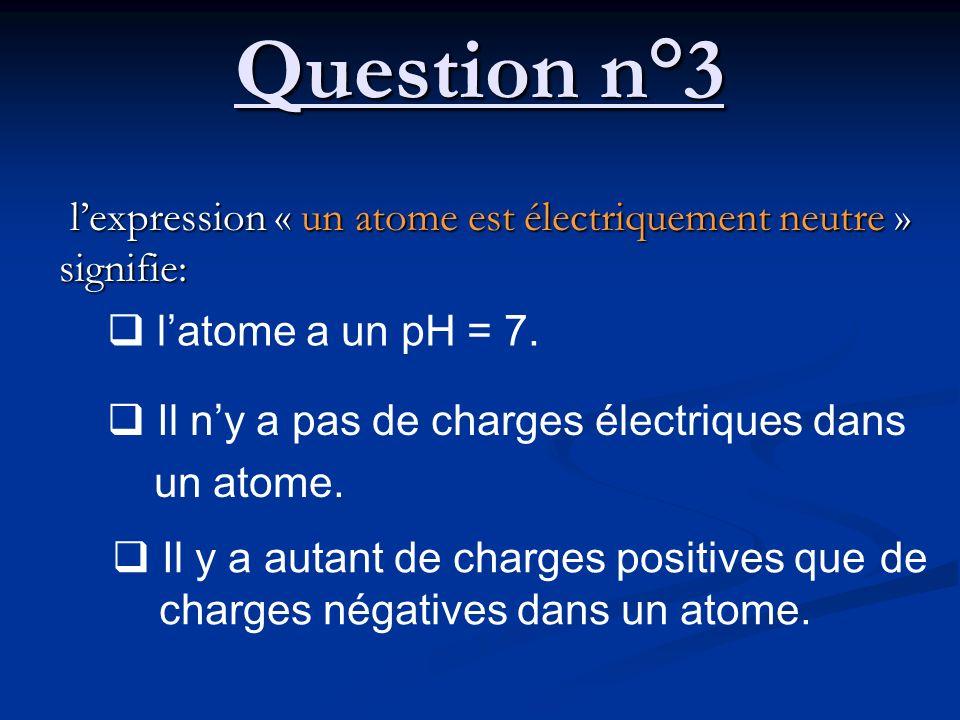 Question n°3 l'expression « un atome est électriquement neutre » signifie: l'atome a un pH = 7. Il n'y a pas de charges électriques dans.