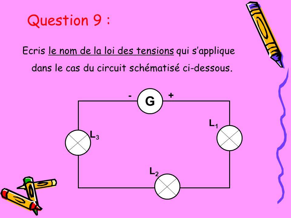 Question 9 : Ecris le nom de la loi des tensions qui s'applique dans le cas du circuit schématisé ci-dessous.