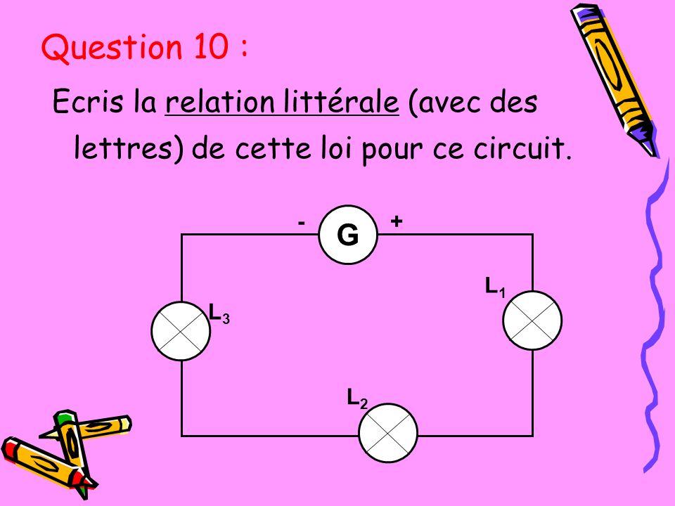 Question 10 : Ecris la relation littérale (avec des lettres) de cette loi pour ce circuit. G. L2.