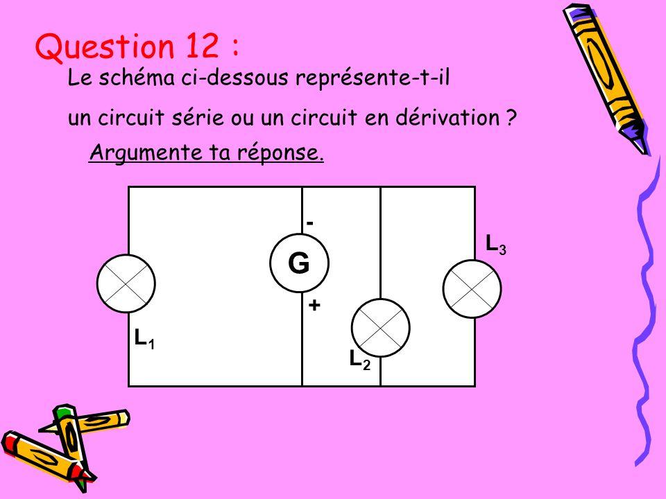 Question 12 : G Le schéma ci-dessous représente-t-il