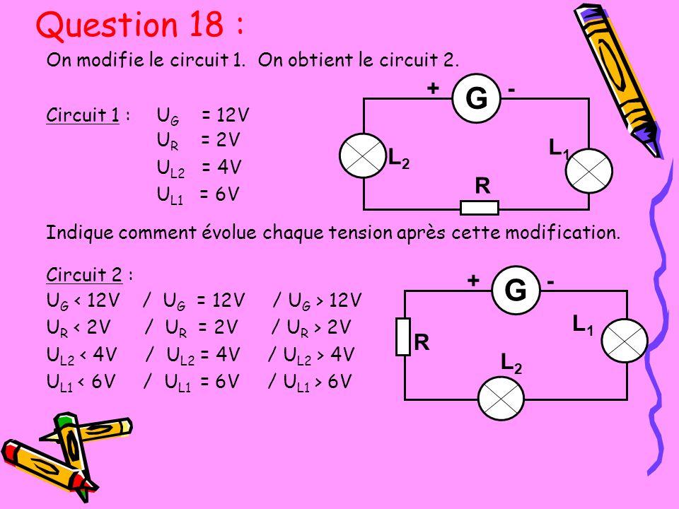 Question 18 : G G R L1 L2 + - R L1 L2 + -