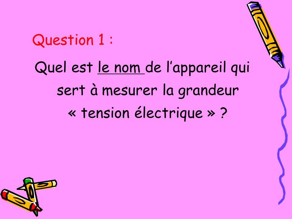 Question 1 : Quel est le nom de l'appareil qui sert à mesurer la grandeur « tension électrique »