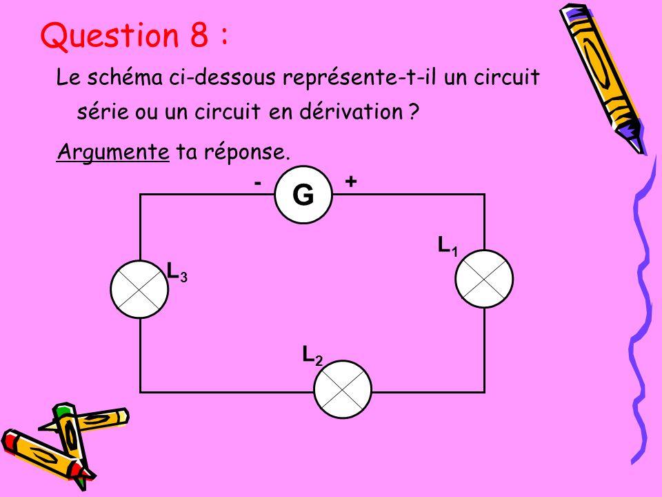 Question 8 : Le schéma ci-dessous représente-t-il un circuit série ou un circuit en dérivation Argumente ta réponse.