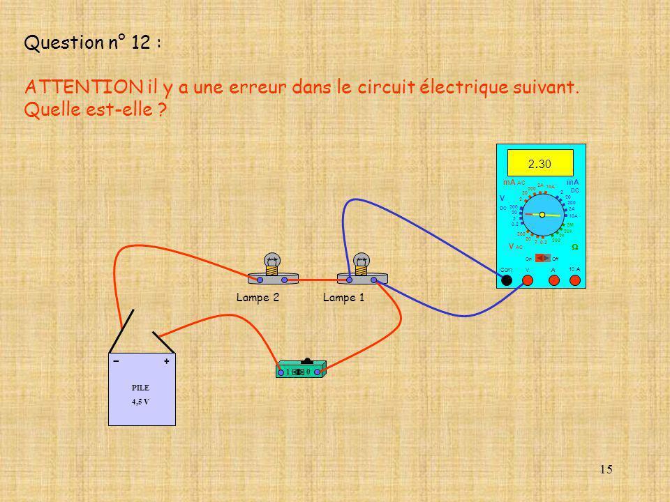 ATTENTION il y a une erreur dans le circuit électrique suivant.