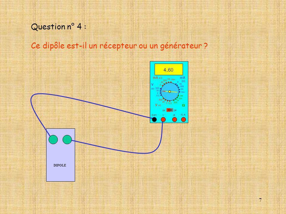 Ce dipôle est-il un récepteur ou un générateur