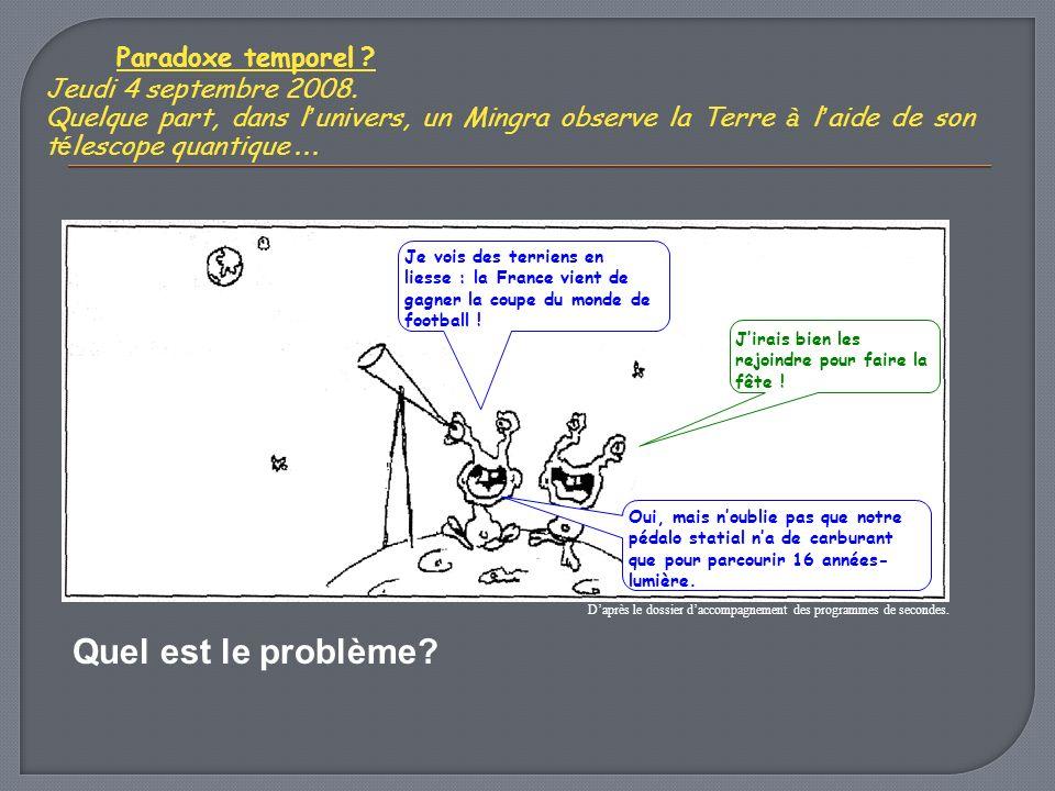 Paradoxe temporel Quel est le problème Jeudi 4 septembre 2008.