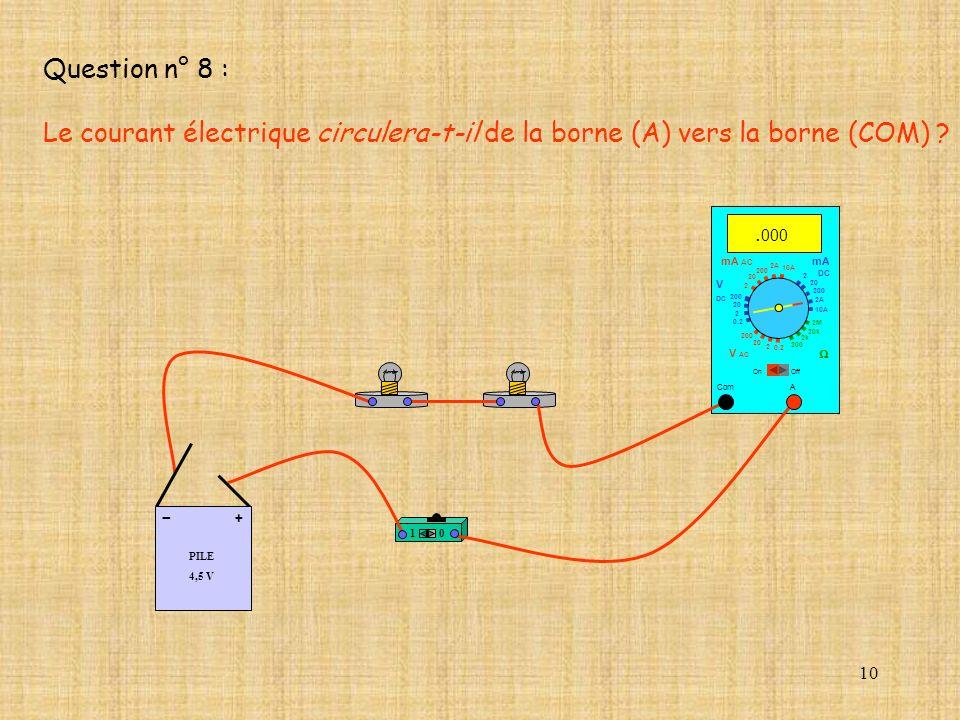 Question n° 8 : Le courant électrique circulera-t-il de la borne (A) vers la borne (COM) .000. mA AC.
