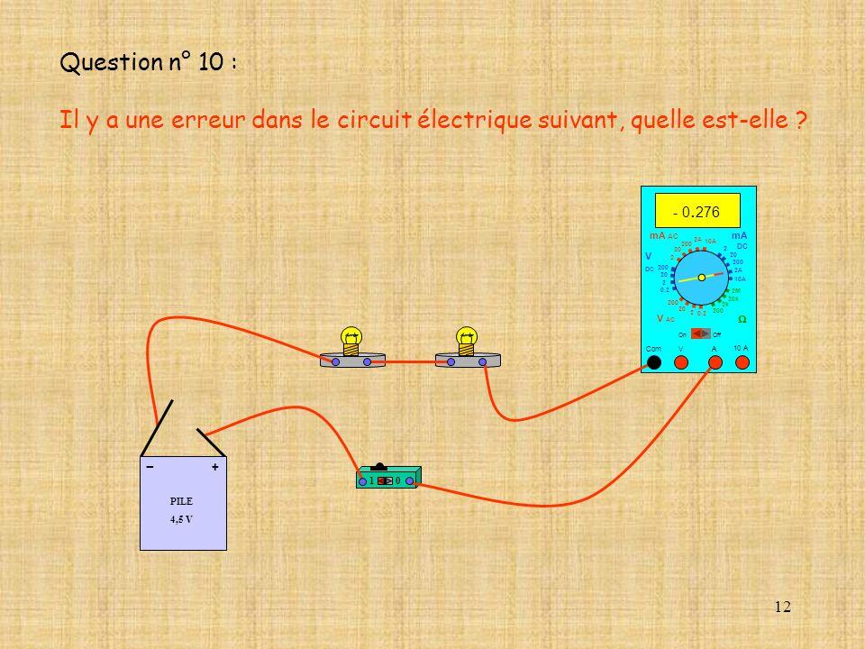 Question n° 10 : Il y a une erreur dans le circuit électrique suivant, quelle est-elle - 0.276. mA AC.