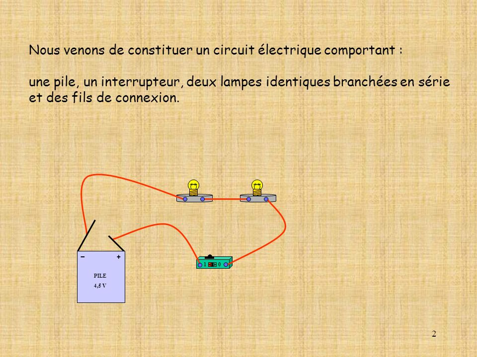 Nous venons de constituer un circuit électrique comportant :