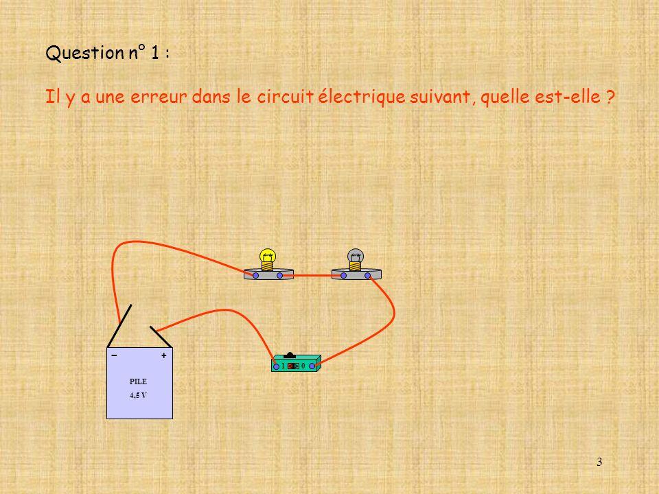 Question n° 1 : Il y a une erreur dans le circuit électrique suivant, quelle est-elle PILE. 4,5 V.