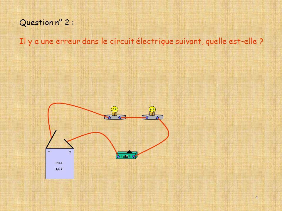 Question n° 2 : Il y a une erreur dans le circuit électrique suivant, quelle est-elle PILE. 4,5 V.