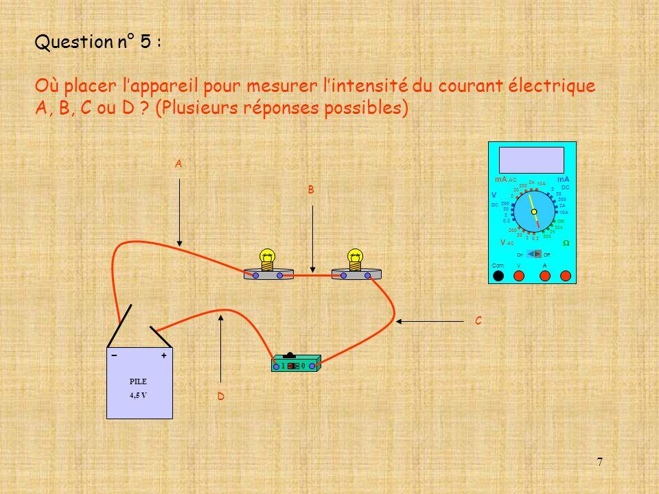 Où placer l'appareil pour mesurer l'intensité du courant électrique