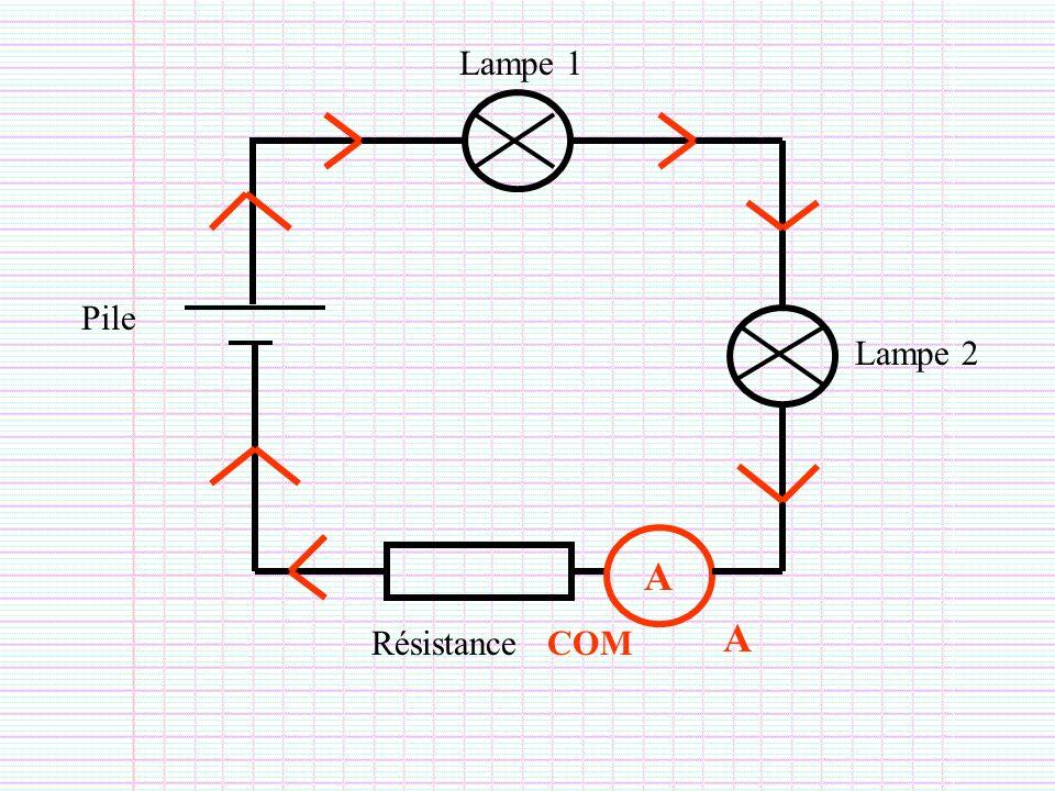 Lampe 1 Pile Lampe 2 A A Résistance COM