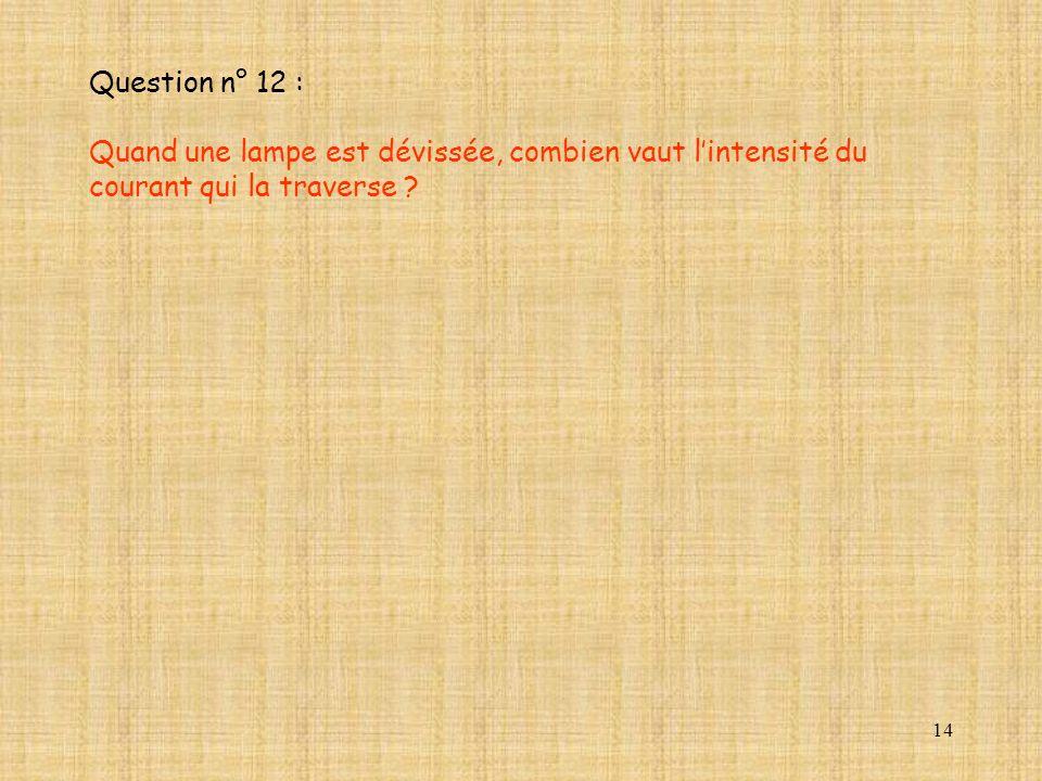 Question n° 12 : Quand une lampe est dévissée, combien vaut l'intensité du courant qui la traverse
