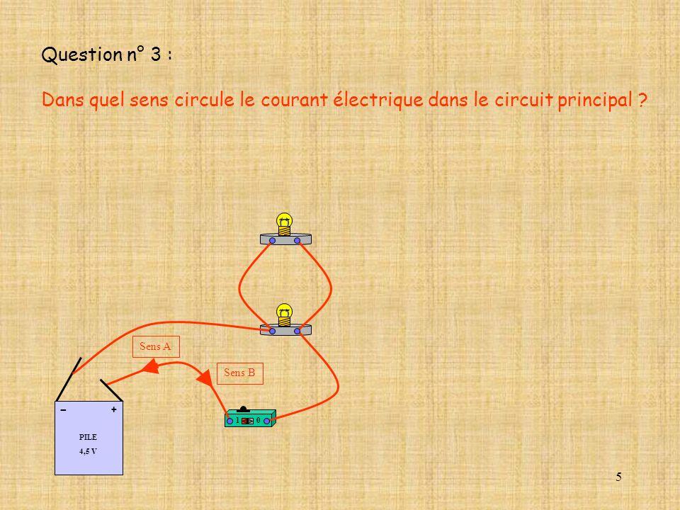 Question n° 3 : Dans quel sens circule le courant électrique dans le circuit principal 1. PILE.