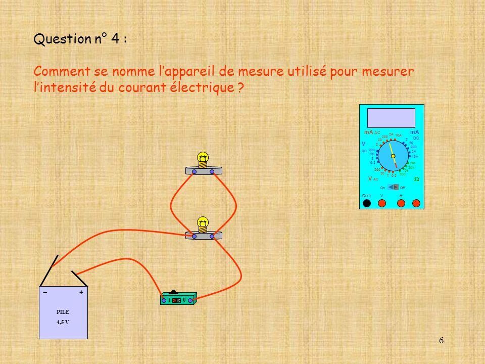 Comment se nomme l'appareil de mesure utilisé pour mesurer