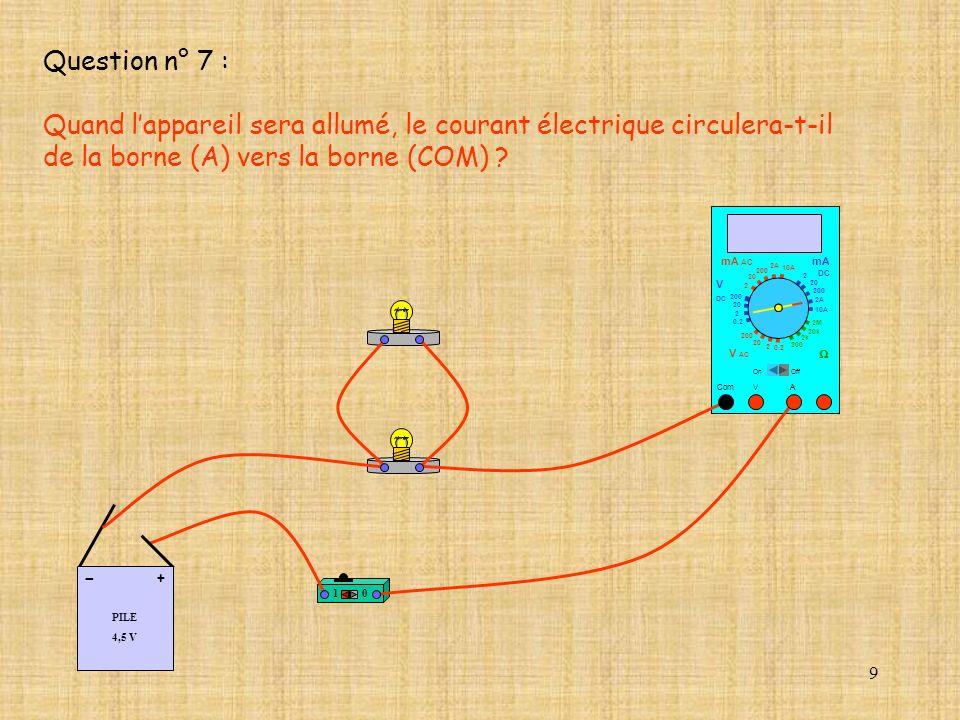 Quand l'appareil sera allumé, le courant électrique circulera-t-il