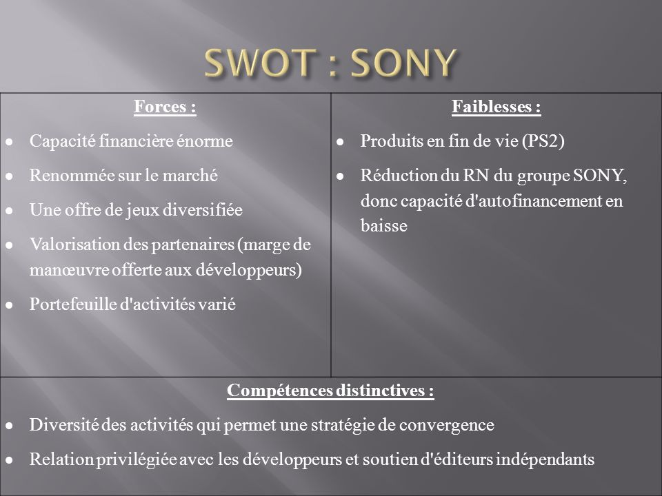 Compétences distinctives :