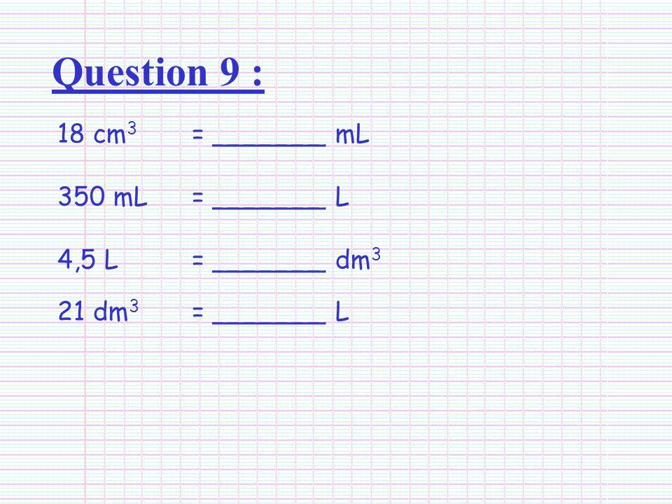 Question 9 : 18 cm3 = _______ mL 350 mL = _______ L
