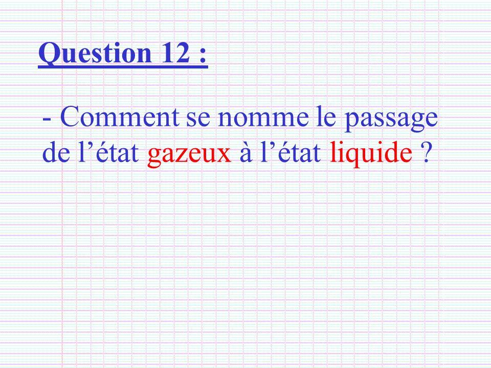 Question 12 : Comment se nomme le passage de l'état gazeux à l'état liquide