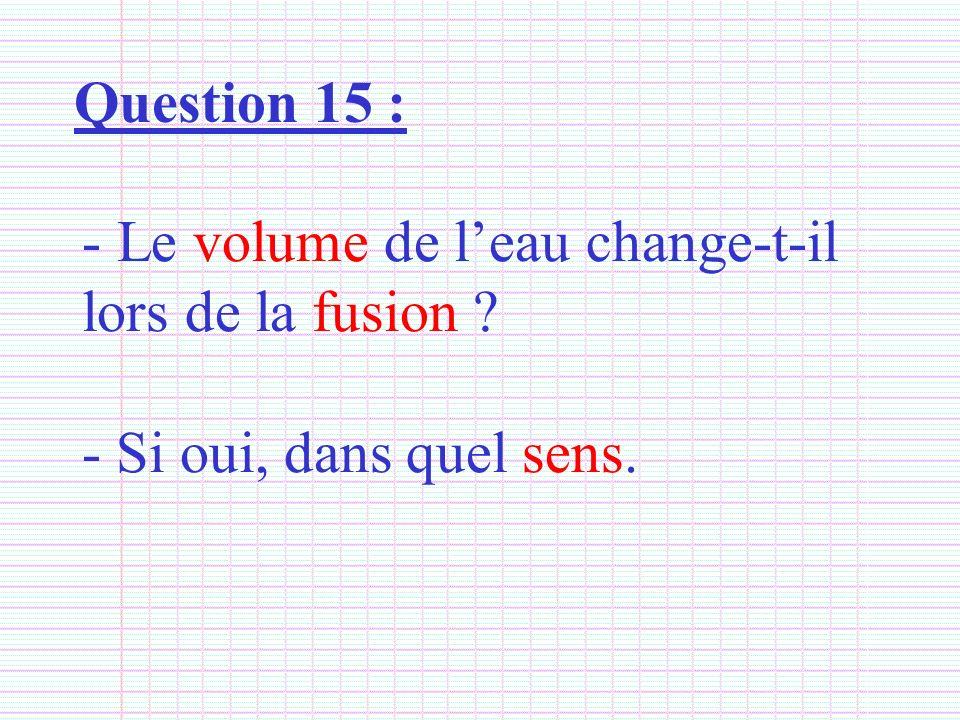 Question 15 : Le volume de l'eau change-t-il lors de la fusion - Si oui, dans quel sens.