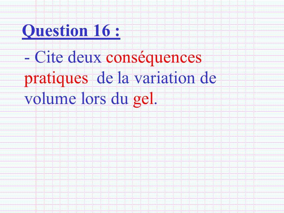 Question 16 : Cite deux conséquences pratiques de la variation de volume lors du gel.
