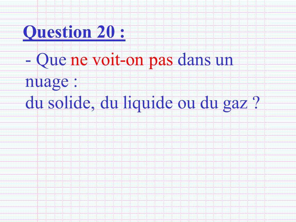 Question 20 : Que ne voit-on pas dans un nuage : du solide, du liquide ou du gaz
