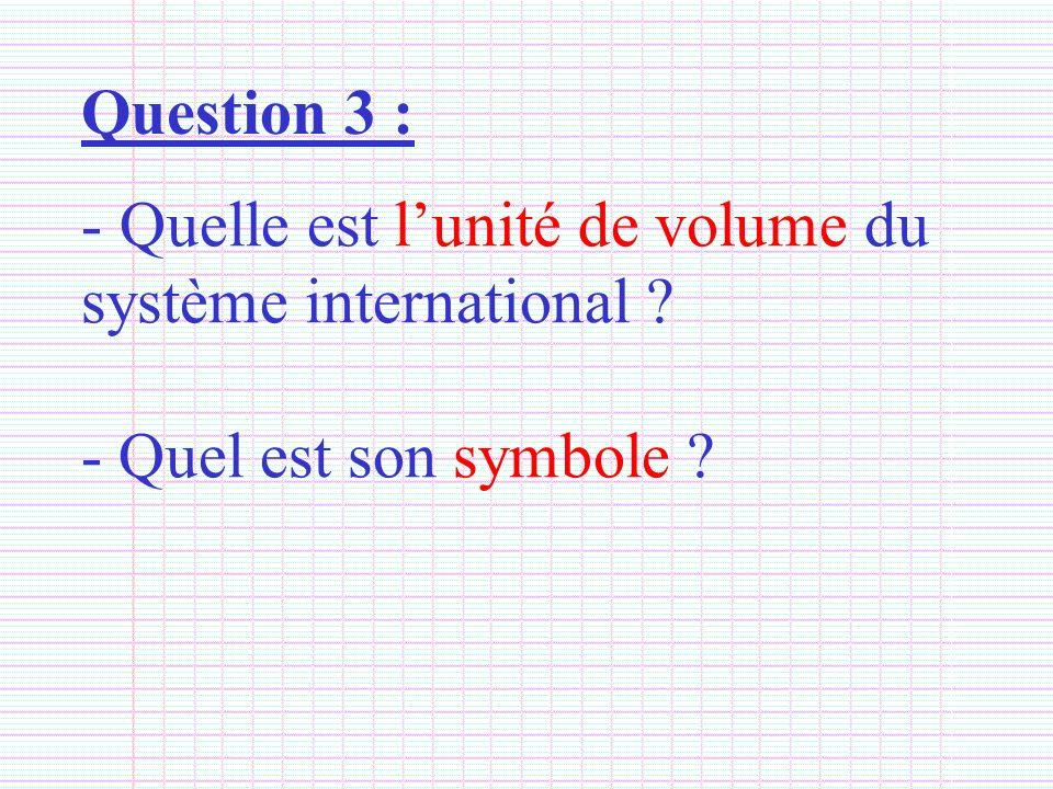 Question 3 : Quelle est l'unité de volume du système international - Quel est son symbole