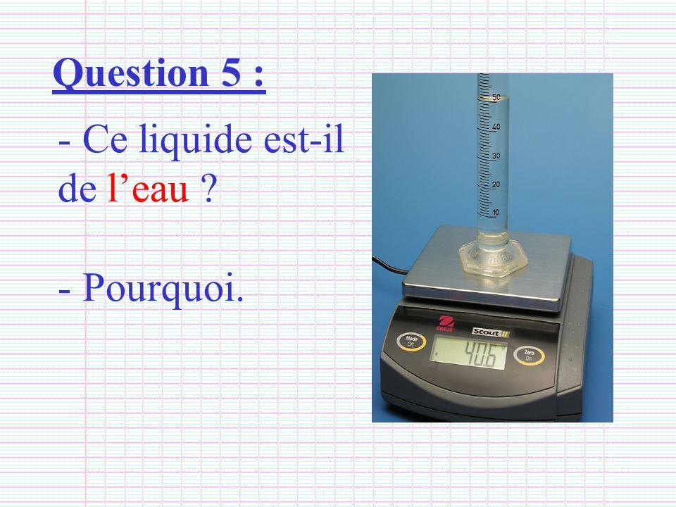 Question 5 : Ce liquide est-il de l'eau Pourquoi.