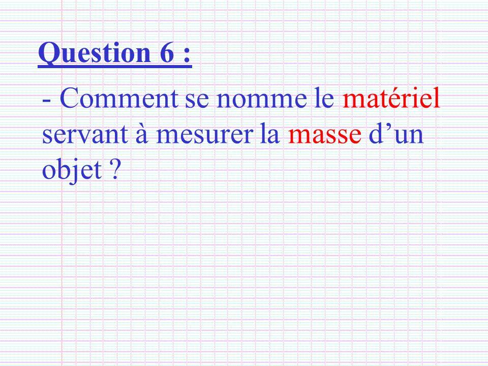 Question 6 : Comment se nomme le matériel servant à mesurer la masse d'un objet