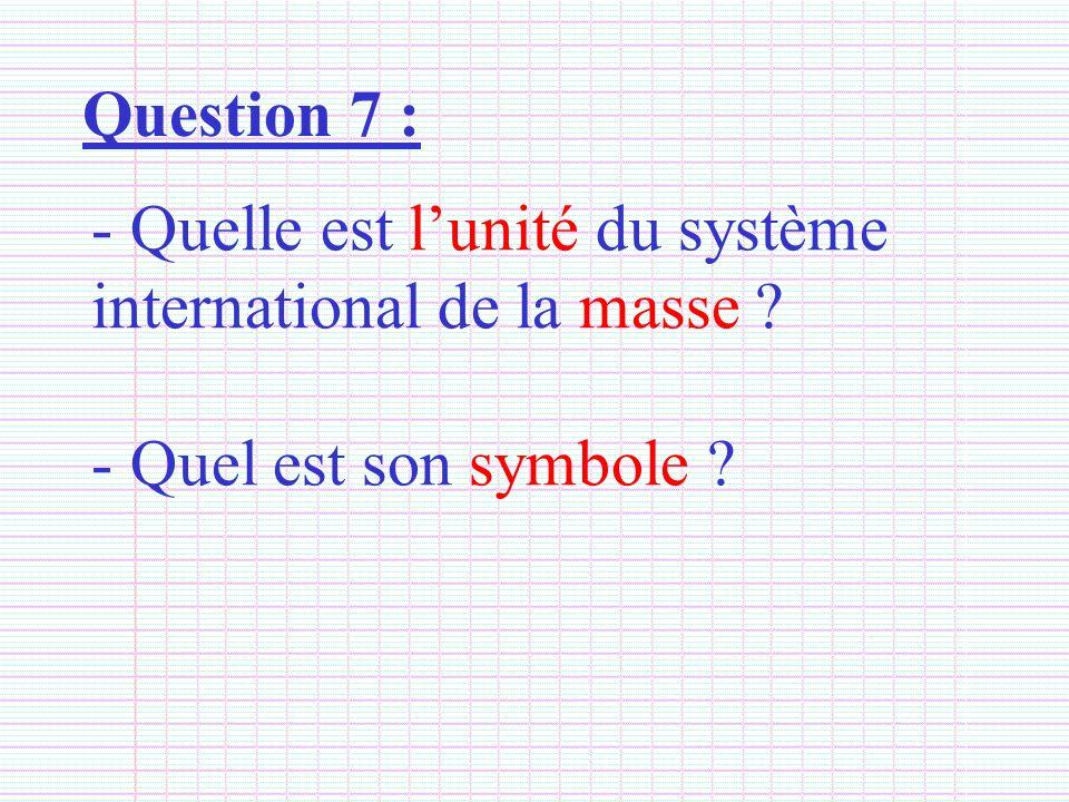 Question 7 : Quelle est l'unité du système international de la masse Quel est son symbole