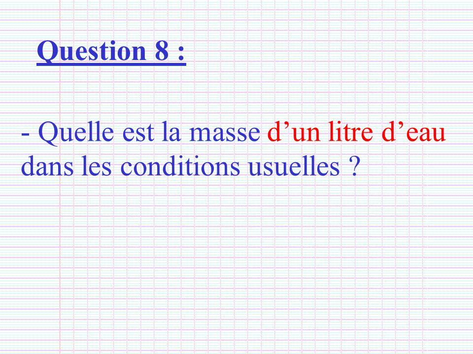 Question 8 : Quelle est la masse d'un litre d'eau dans les conditions usuelles