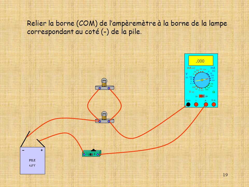 Relier la borne (COM) de l'ampèremètre à la borne de la lampe
