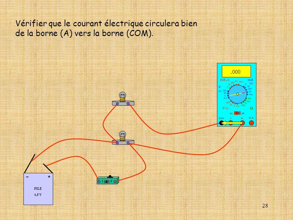 Vérifier que le courant électrique circulera bien