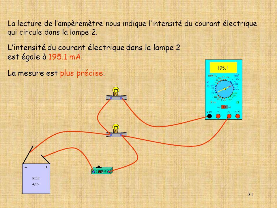 L'intensité du courant électrique dans la lampe 2