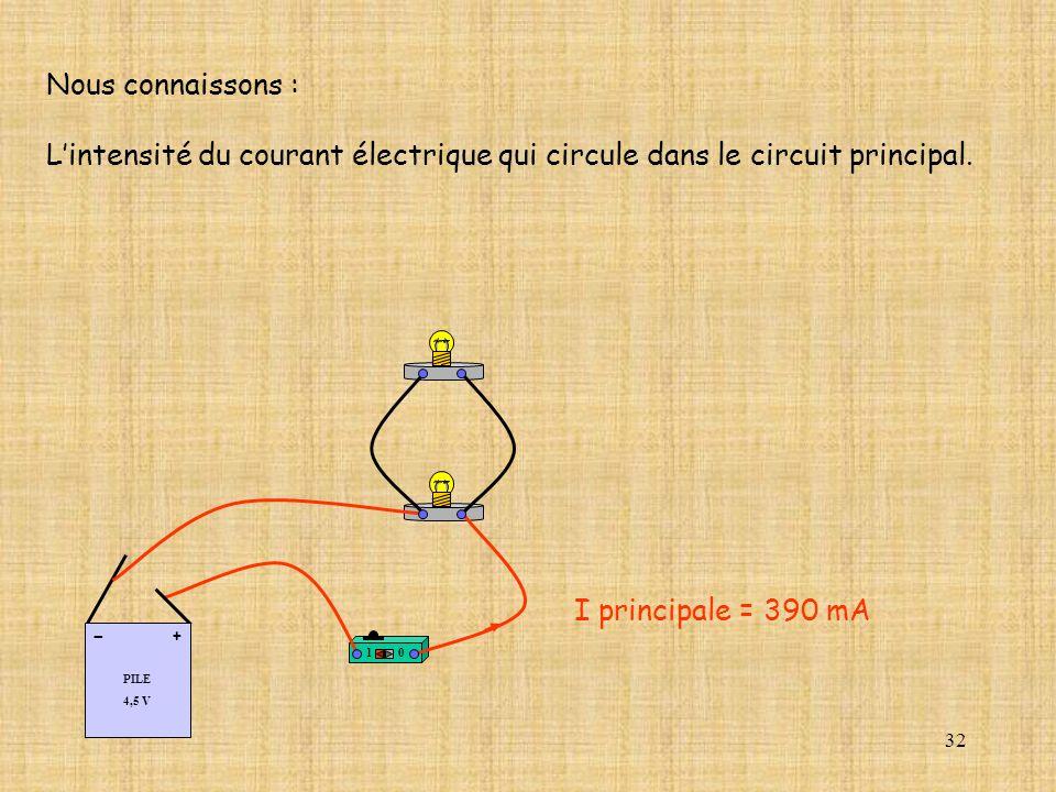 Nous connaissons : L'intensité du courant électrique qui circule dans le circuit principal. PILE. 4,5 V.