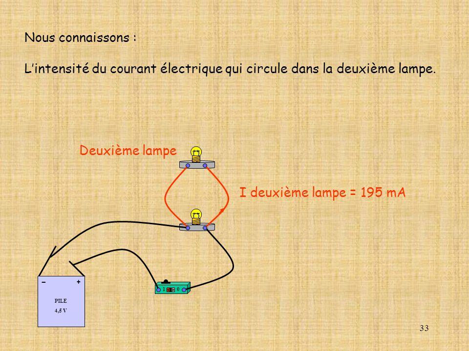 L'intensité du courant électrique qui circule dans la deuxième lampe.