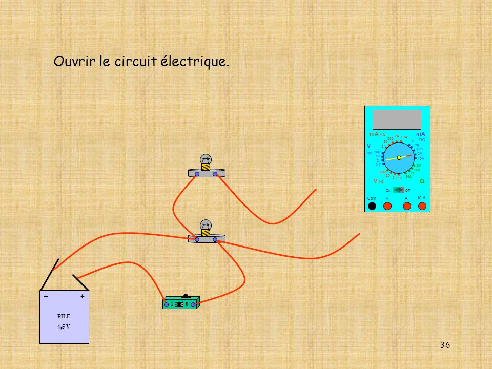 Ouvrir le circuit électrique.