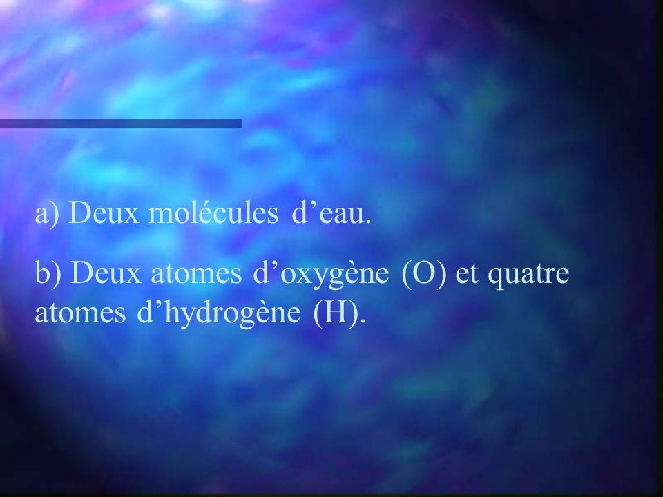 a) Deux molécules d'eau.