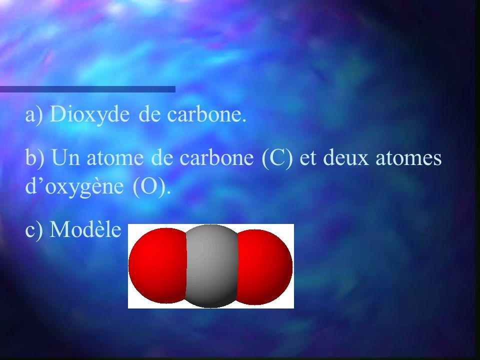 a) Dioxyde de carbone. b) Un atome de carbone (C) et deux atomes d'oxygène (O). c) Modèle :