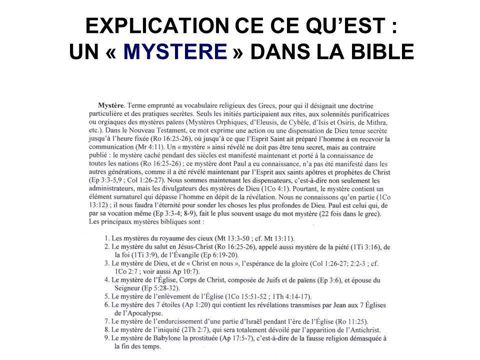 EXPLICATION CE CE QU'EST : UN « MYSTERE » DANS LA BIBLE