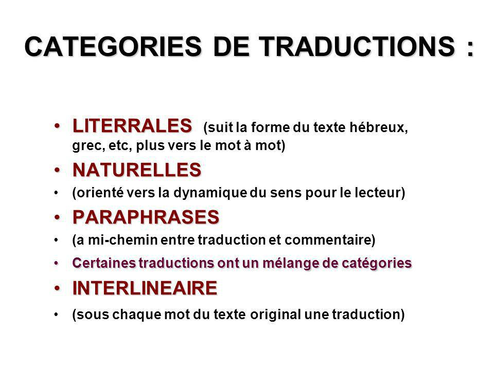 CATEGORIES DE TRADUCTIONS :