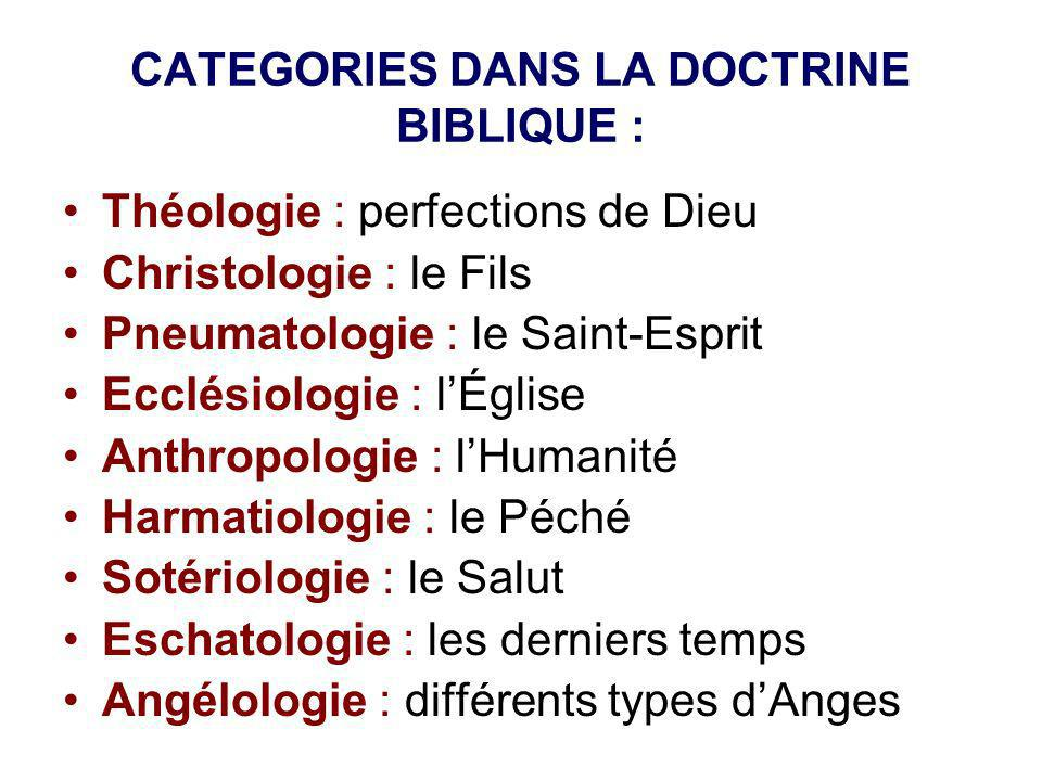CATEGORIES DANS LA DOCTRINE BIBLIQUE :