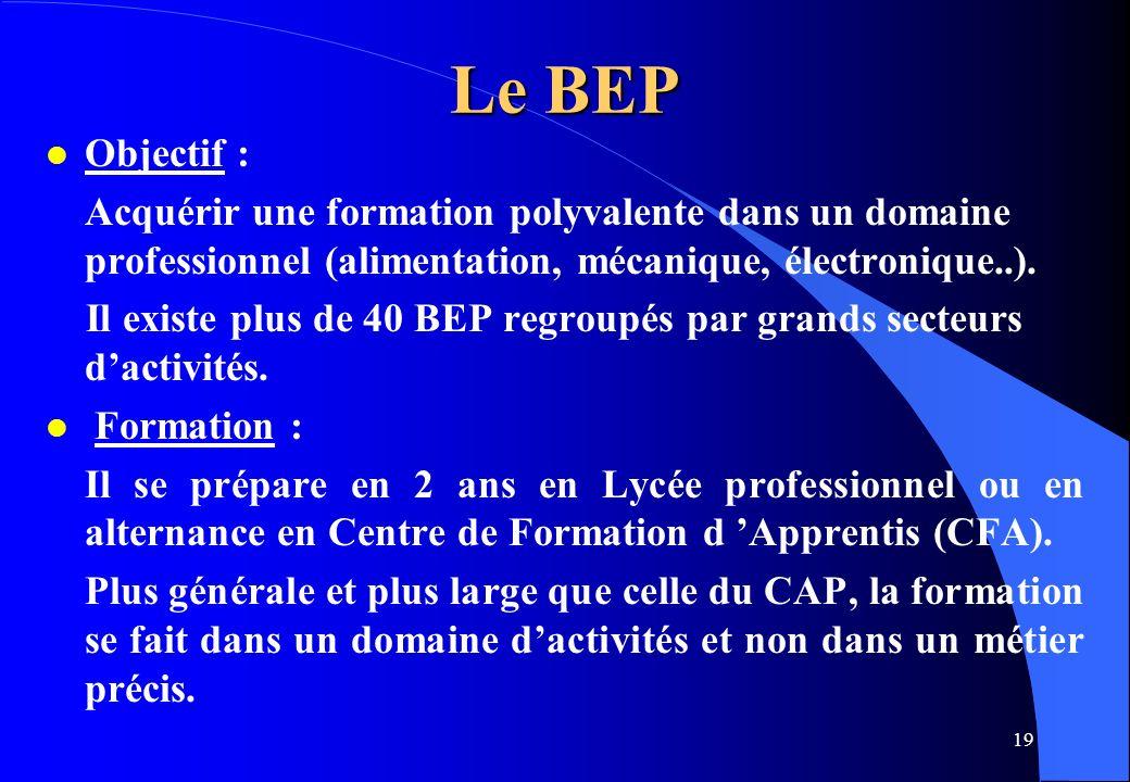 Le BEP Objectif : Acquérir une formation polyvalente dans un domaine professionnel (alimentation, mécanique, électronique..).