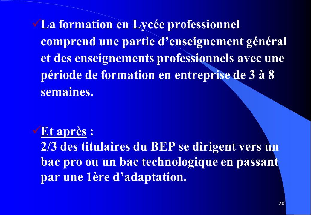 La formation en Lycée professionnel comprend une partie d'enseignement général et des enseignements professionnels avec une période de formation en entreprise de 3 à 8 semaines.