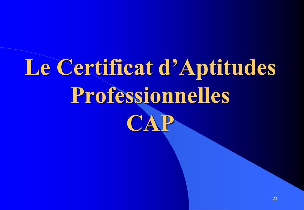 Le Certificat d'Aptitudes Professionnelles CAP