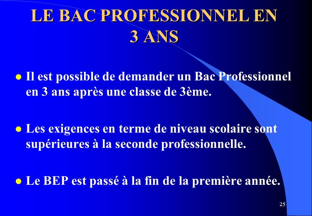 LE BAC PROFESSIONNEL EN 3 ANS